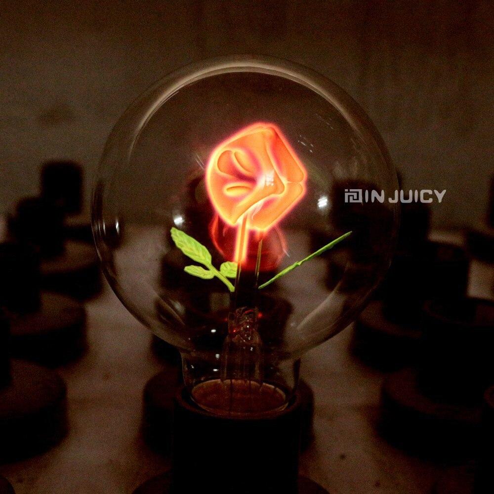 2 TEILE/LOS E27 Rose Feuer halogenlampen Edison retro wolfram kohlenstoff filament licht...