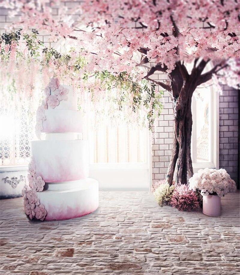 200*300 cm fond de photographie de mariage vinyle rose cerisier carrelage étage romantique mariage pour Studio - 2