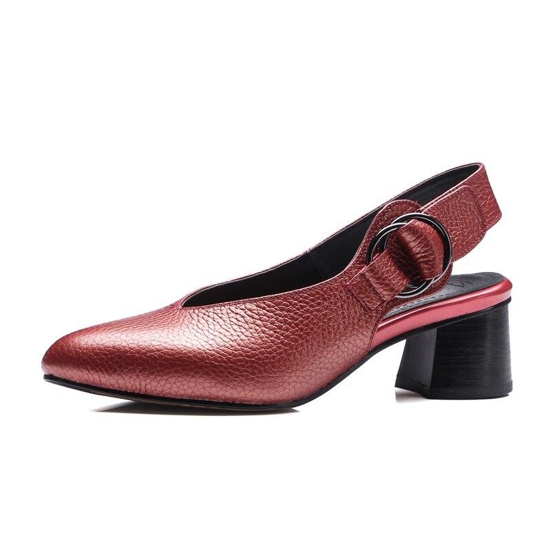 ZVQ cuero genuino 33 43 zapatos de gran tamaño zapatos de mujer zapatos ahuecados tacones 4,5 cm punta puntiaguda moderna concisa carrera zapatos de otoño zapatos-in Zapatos de tacón de mujer from zapatos    3