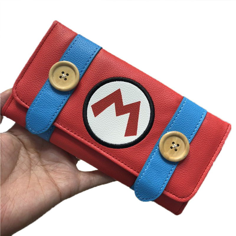 Game Super Mario Long Wallet PU Large Clutch Bag Hasp Wallet Purses Card Holder Cosplay Prop