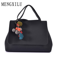 DIZHIGE Brand 15 Inch Big Tassel Women Bag Pendant Large Capacity Woman Shoulder Handbag PU Soft