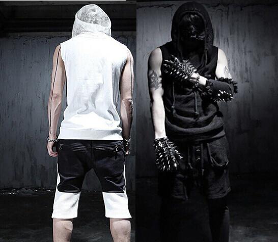 2016 nuevo de corea del verano fresco gótico tapas del tanque sin mangas hombre con capucha negro blanco Slim fit Rock punk ropa