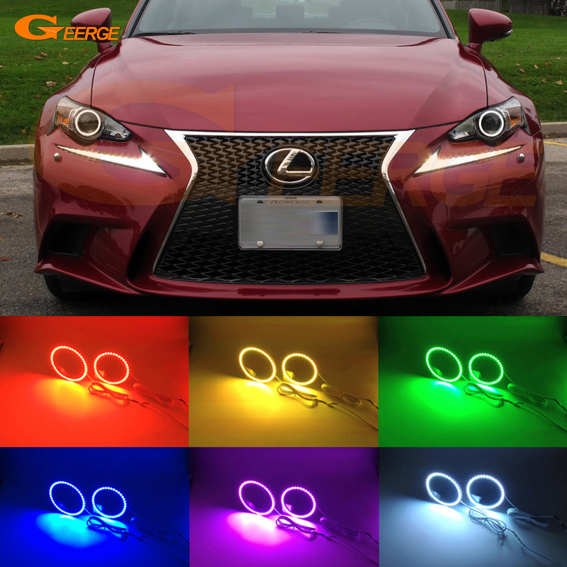 For LEXUS IS350 IS250 ISF 2014 2015 HID Headlight Excellent Multi-Color Ultra bright 7 Colors RGB LED Angel Eyes kit Halo Ring for mitsubishi lancer 2008 2015 non projector excellent multi color ultrabright 7 colors rgb led angel eyes halo rings led light