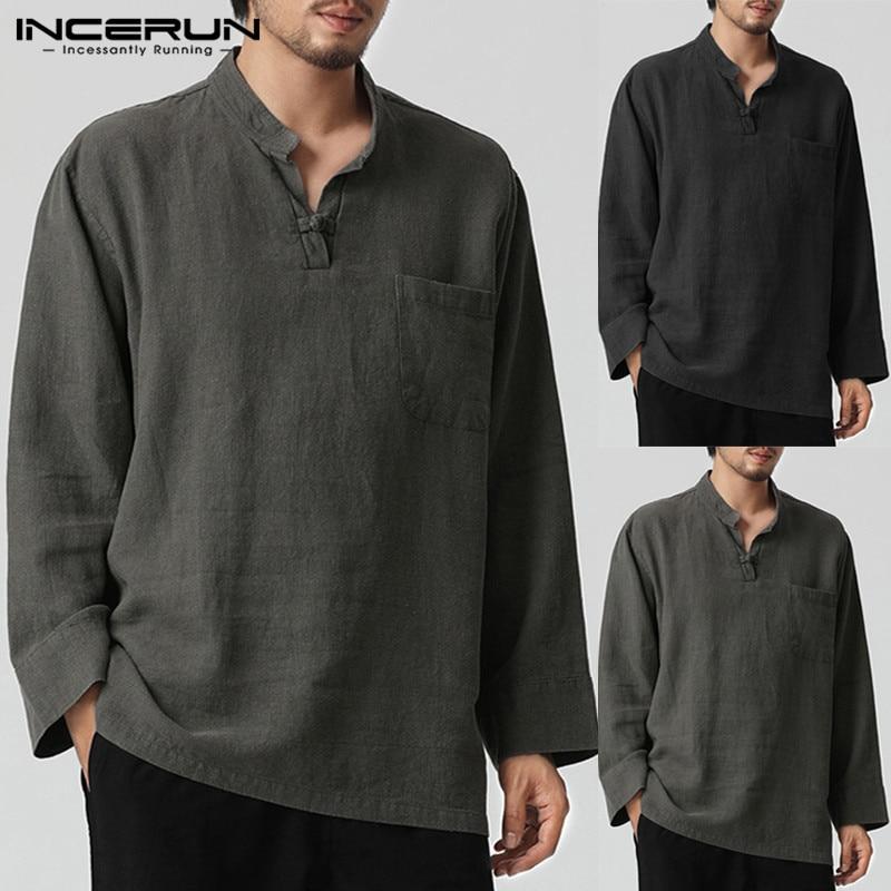 6ca69d643177901 INCERUN 2019 Мужская рубашка в стиле ретро с длинными рукавами, v-образным  вырезом, хлопковые льняные мужские топы, Осенние, большие размеры, китай.