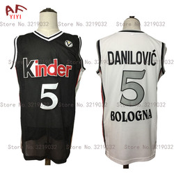 New Sasha Danilovic European Basketball Jersey 5# Virtus Kinder Bologna Throwback Jersey Black/White Sewn Retro Mens Shirts