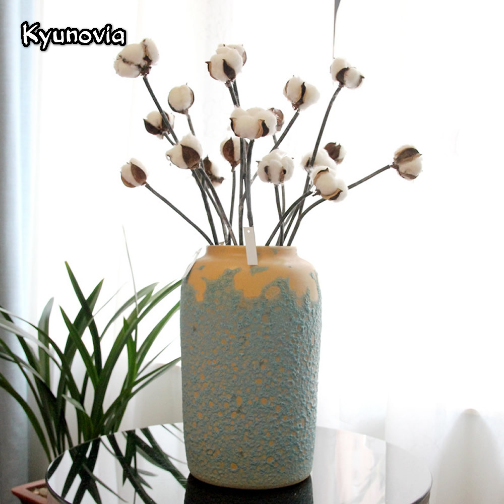 Kyunovia 3 Heads Dried Cotton Branch Artificial Flower Wedding ...