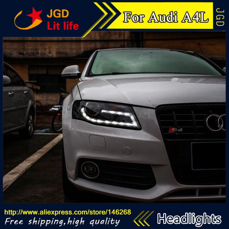 Free shipping ! Car styling LED HID Rio LED headlights Head Lamp case for Audi A4L 2009-2012 Bi-Xenon Lens low beam free shipping for vland factory for car head lamp for audi for a3 led headlight 2008 2009 2010 2011 2012 year h7 xenon lens