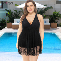 JOYMODE Women Strap Swimwear Beach Wear Swimsuit Wrap V Neck Plus Size Lace Swimming Dress Backless Bathing Suit Vintage Tankini