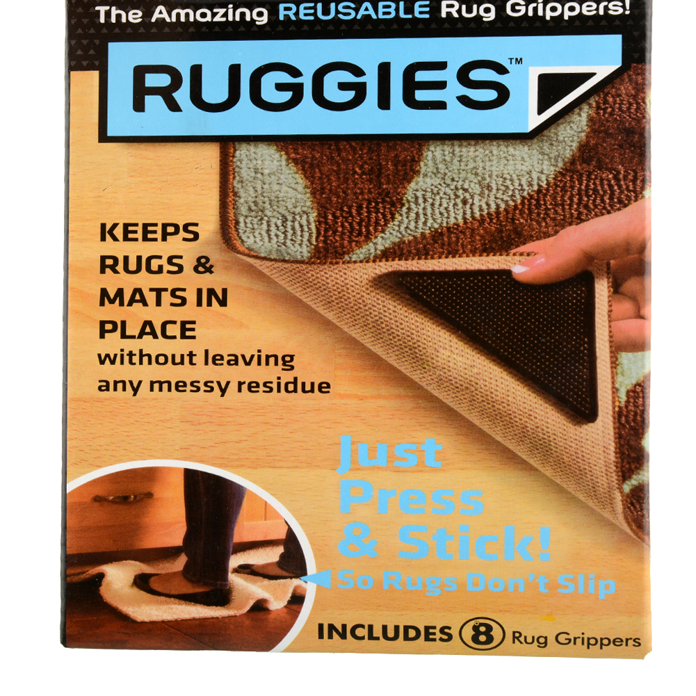 4pcs Ruggies Rug Carpet Mat Grippers Non Slip Corners Pad Anti Skid  Reusable Washable Silicone Useful