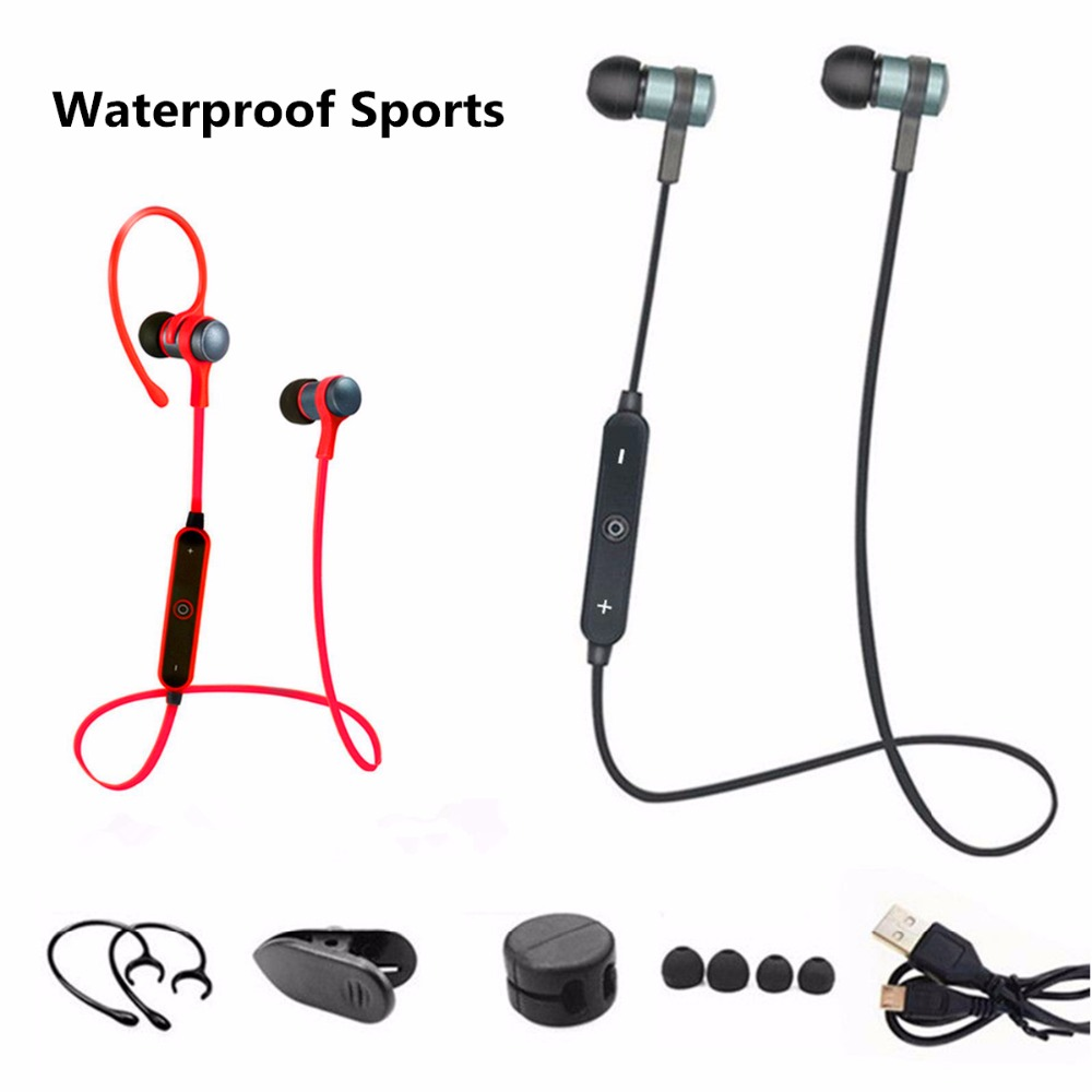 JRGK Sport Waterproof Wireless Headphone Bluetooth 4.1 Music Earphone Stereo Metal Headset with Microphone For iPhone xiaomi 50pcs t6 bluetooth wireless headphone stereo music headset with microphone headband style earphone for iphone huawei xiaomi