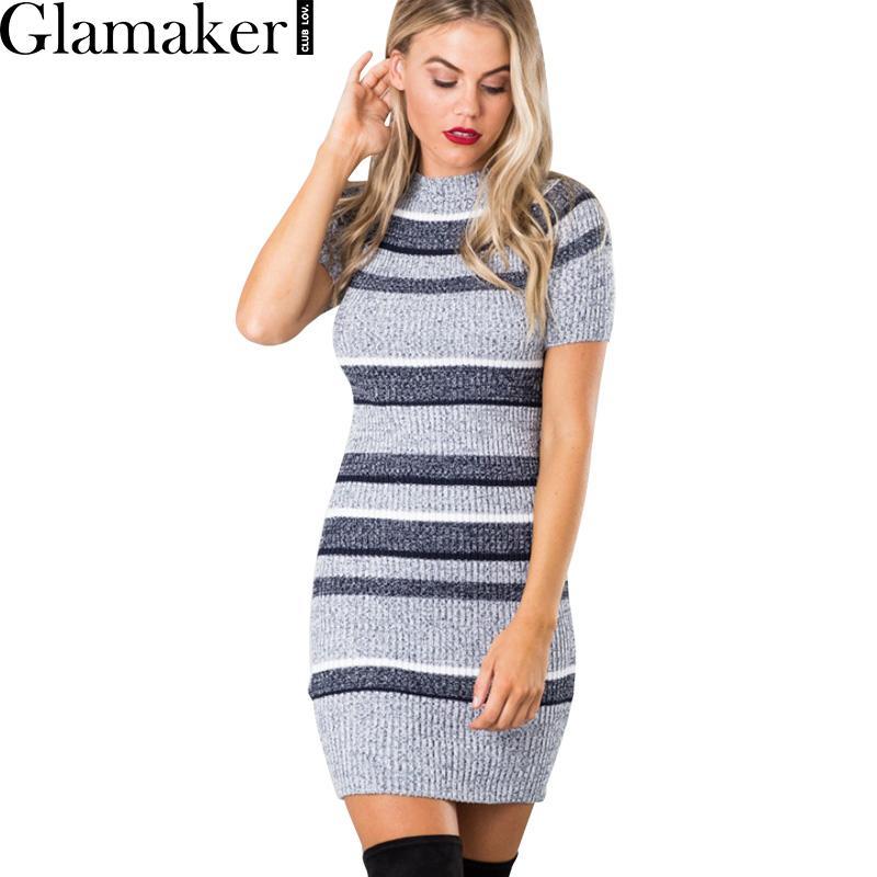 Grey Short Sleeve Sweater Dress