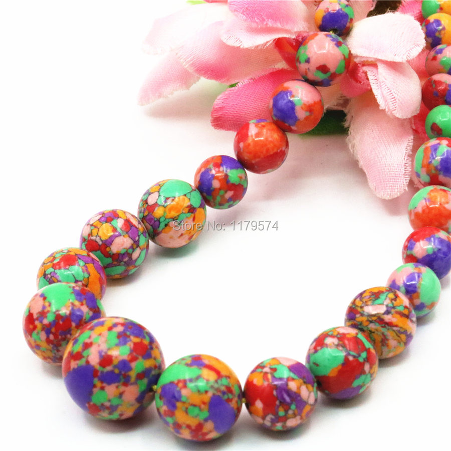 6-14mm Accessories Rainbow Multicolor Turkey Stone Tower Necklace Chain For Women Girls Christmas Gifts Hand Made Jewelry Making