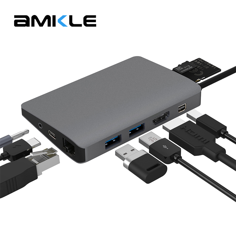 Amkle 9 in 1 USB3.1 Hub Multifunction USB-C Hub with Type-C 4K Video HDMI Gigabit Ethernet Adapter USB 3.0 USB C Type C HUB