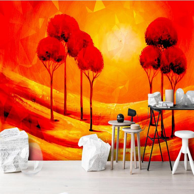 Red Design WallpapeModern Metal Relief Oil Painting Photo Wallpaper for Bedroom Room Murals Sitting Room Design Kitchen Desktop