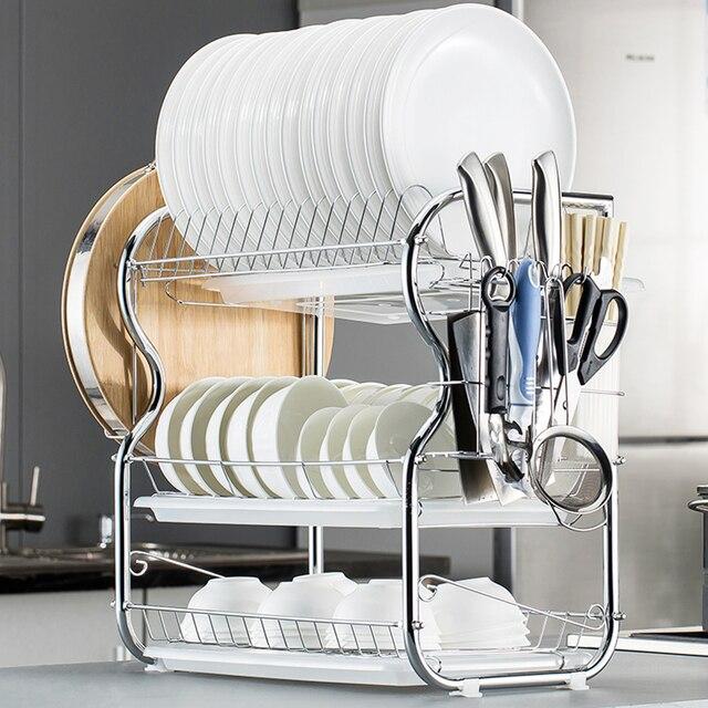 Multi functional 3 Tier Dish Rack Kitchen Supplies Storage Rack Draining Rack Chopsticks/Knives/Cutting Board Holder Drainboard