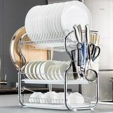Scolapiatti multifunzione a 3 livelli forniture per cucina scaffale di stoccaggio scolapiatti bacchette/coltelli/tagliere supporto per drenaggio