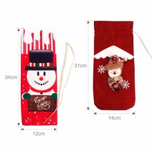Christmas Decorations for Home Santa Claus Wine Bottle Cover Snowman Stocking