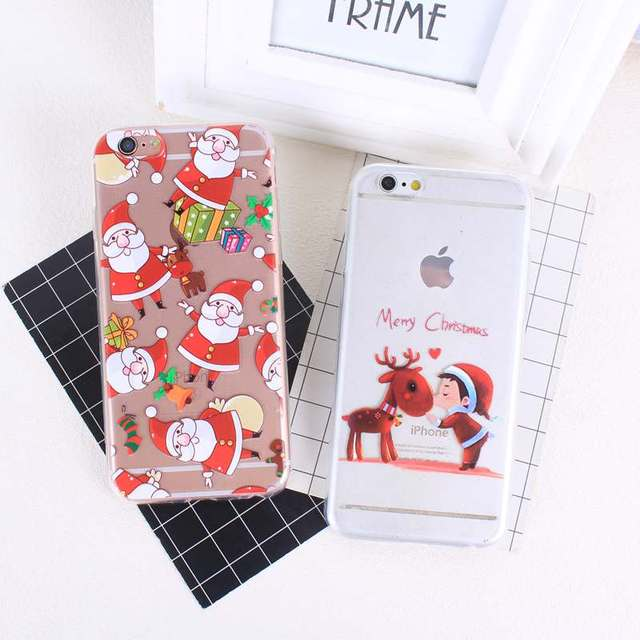 Phone Case for iphone 8 Plus 7 Plus Soft TPU Thin Silicone Merry Christmas Cover Case For Apple iphone 5 5S SE 6 6S 7 8 X Coque