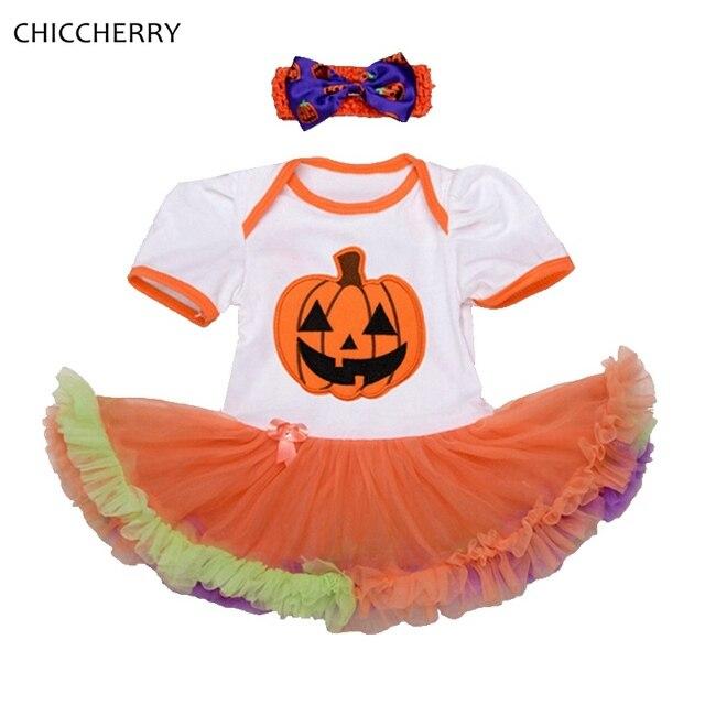 baby pumpkin halloween costumes toddler lace romper dress headband newborn tutu sets girls halloween outfits infant