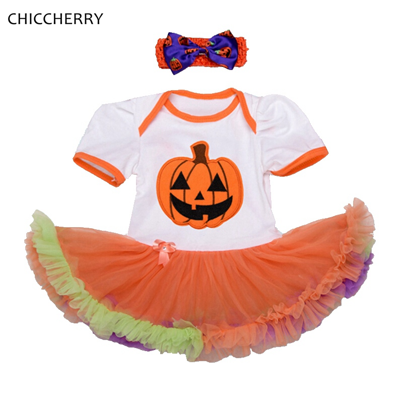 Baby Pumpkin Halloween Costumes Toddler Lace Romper Dress Headband Newborn Tutu Sets Girls Halloween Outfits Infant Clothing