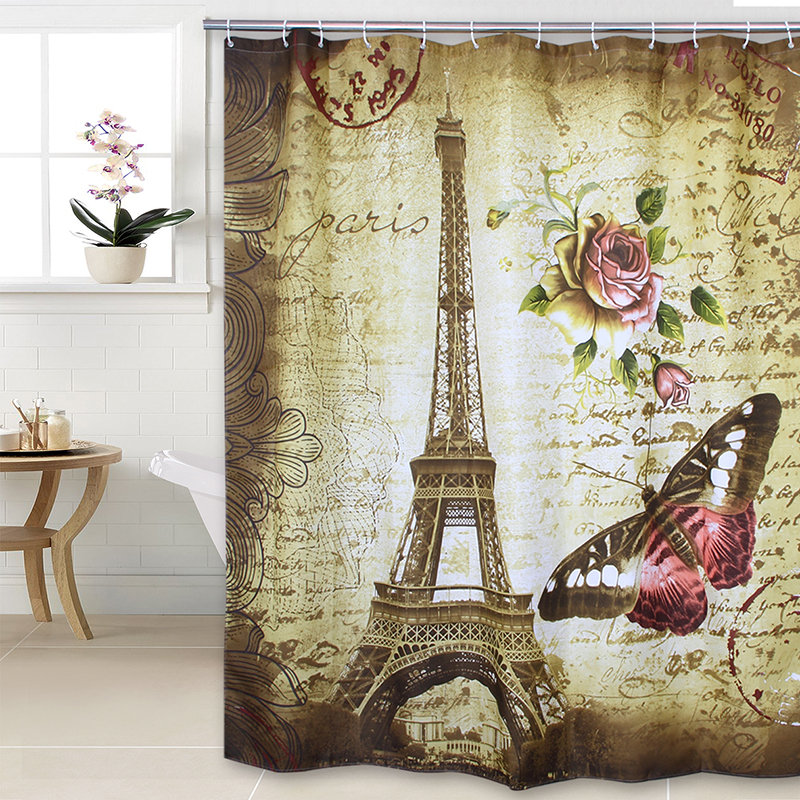 Fabric Polyester Eiffel Tower Thicken Shower Curtains Waterproof Shower  Curtains 180cm X180cm(China (Mainland