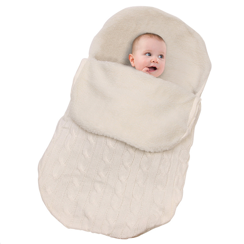 Baby Sleeping Bag Knitted Envelope For Newborns Baby Cocoon Swaddle Sack Envelope In The Stroller Footmuff Baby Carriage Sack