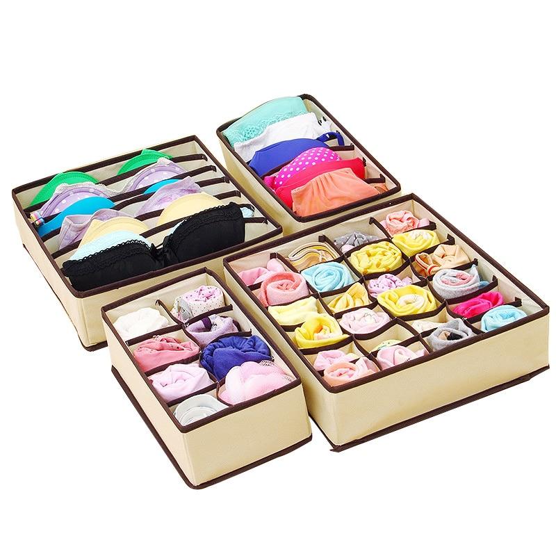 4 PCS Beige Home Storage Supply Storage Box Ties Socks Shorts Bra Underwear  Storage Bins Cube