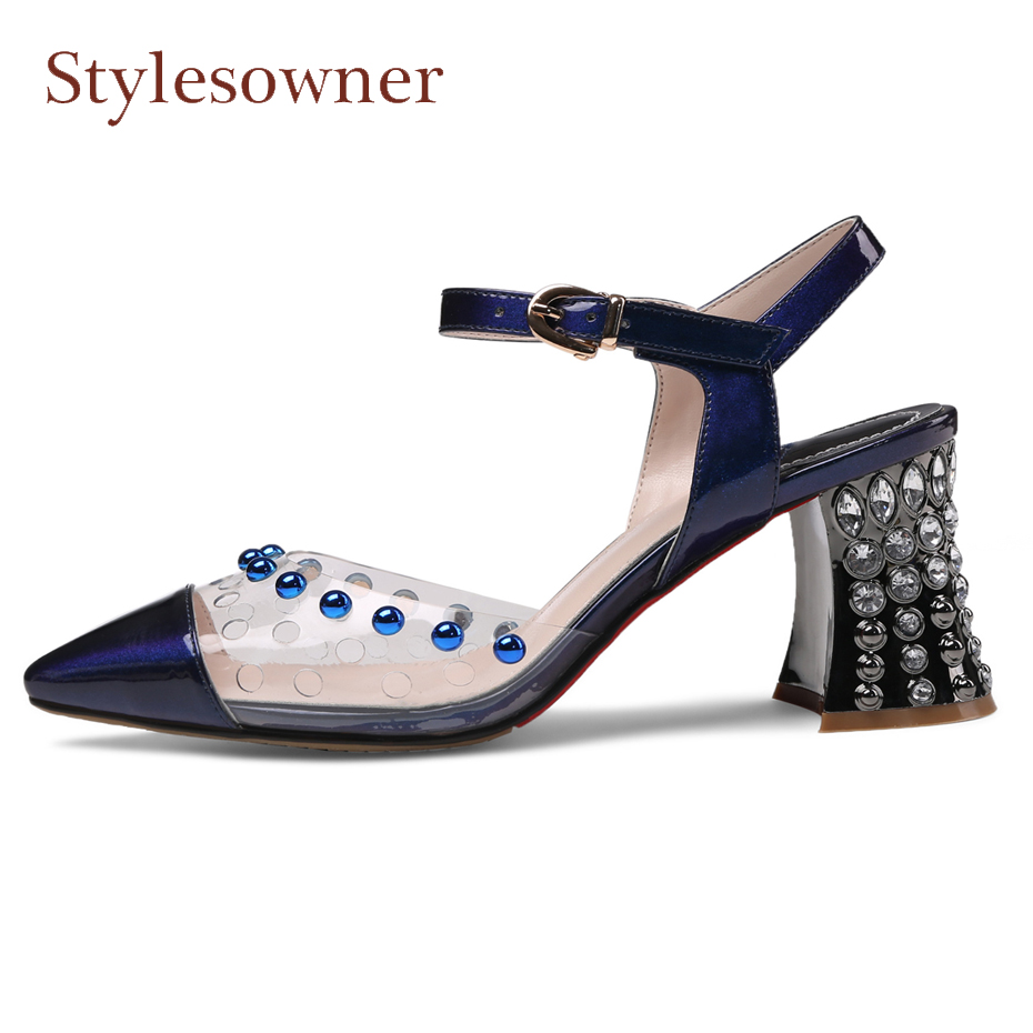 Stylesowner tranparent pvc patchwork high heel sandals crystal stud chunky high heel pumps buckle strap ladies dress party shoes
