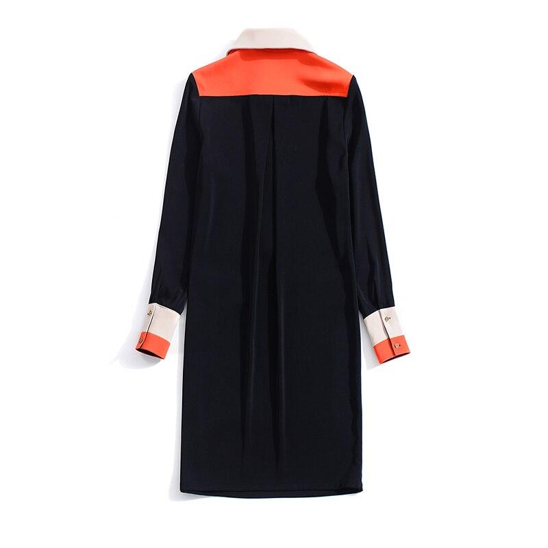 Du Genou Bureau Mince Mini Collar down Qualité Robe Nouveau dessus Lady Turn Manches Chaude 2018 Pleine Femmes Haute Hit Couleur CwafRqT