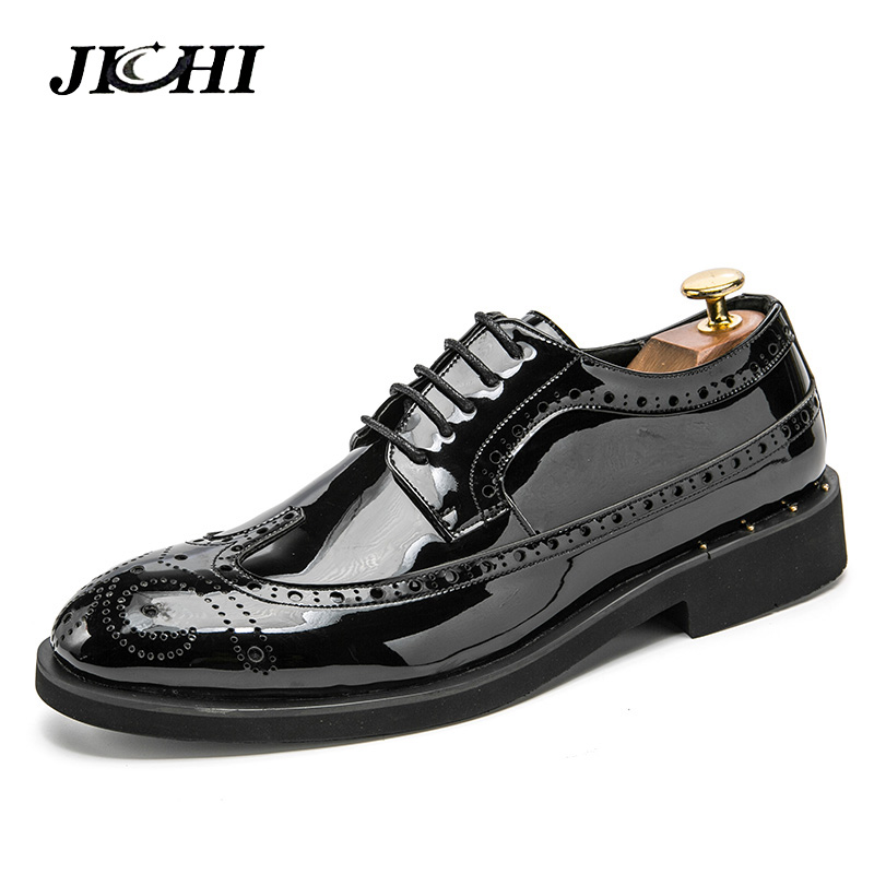 JICHI Men Leather Shoes Oxford PU Leather Mens Dress Shoes Business Flat Shoes Breathable Mens Banquet Wedding Shoes 46JICHI Men Leather Shoes Oxford PU Leather Mens Dress Shoes Business Flat Shoes Breathable Mens Banquet Wedding Shoes 46