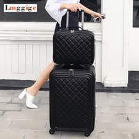 Women Luggage bag set,High quality PU leather Suitcase ,Universal wheels Carry Ons,Grid pattern Carrier,Trolley case,drag box