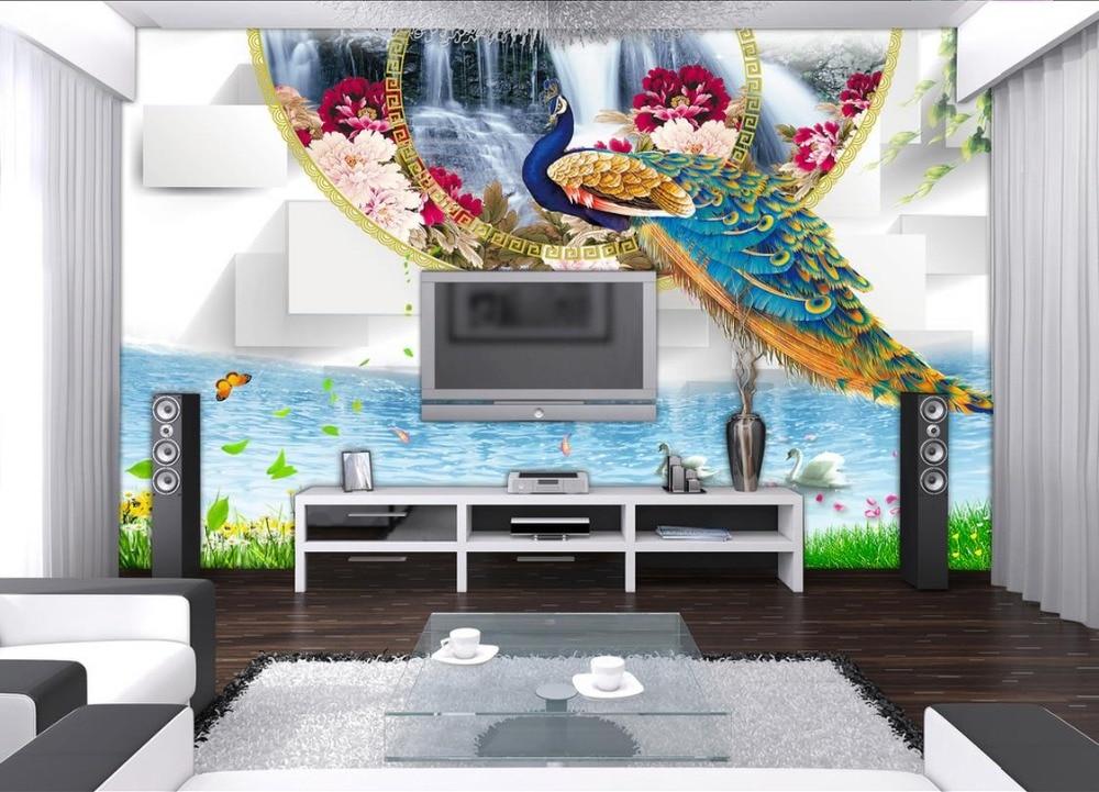 3d luxury gold wallpaper Peacock Swan Peony 3d stereoscopic photo wallpaper murals Custom 3d wallpaper living room custom continental ceiling murals living room bedroom embossed 3d wallpaper 3d stereoscopic 3d wallpaper peacock feathers zenith