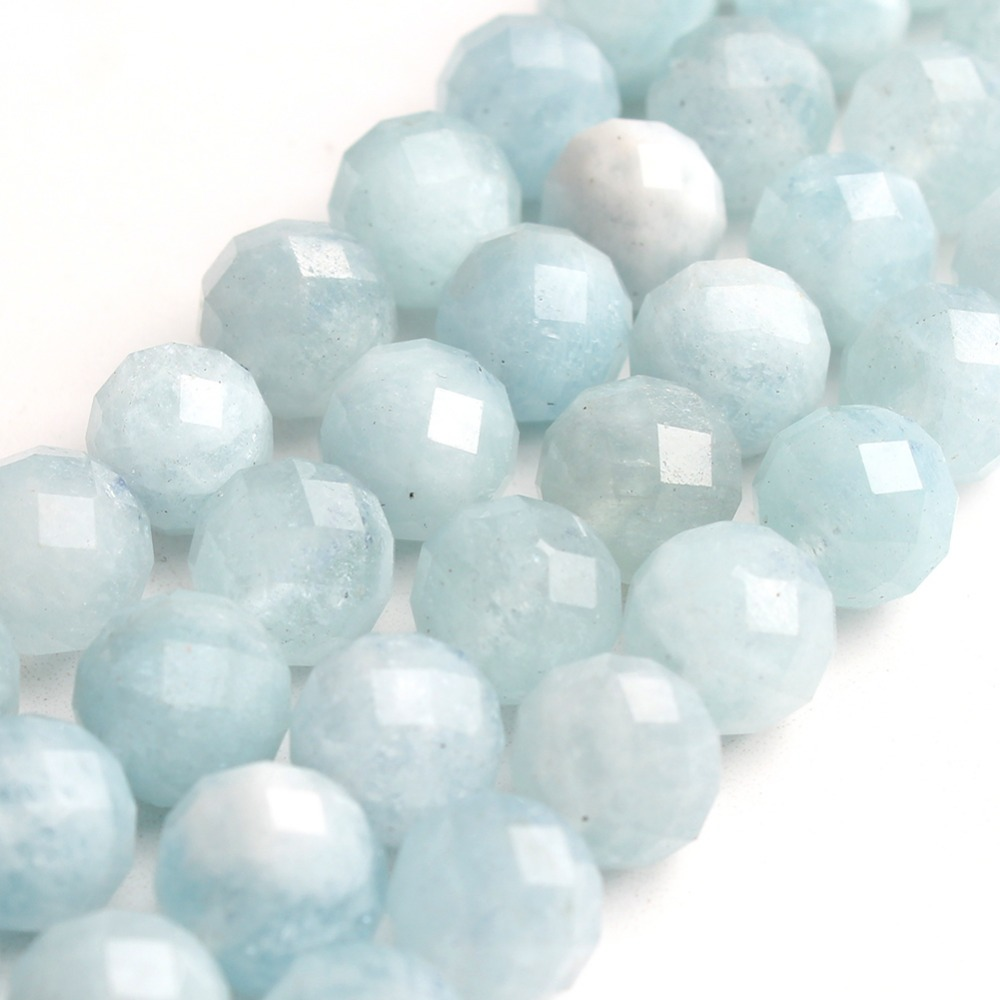 Pick Size 8mm 7.5 Blue Faceted Natural Aquamarine Gemstone For Jewelry Making Round Loose Stone Beads DIY Bracelet Necklace   Pick Size 8mm 7.5 Blue Faceted Natural Aquamarine Gemstone For Jewelry Making Round Loose Stone Beads DIY Bracelet Necklace