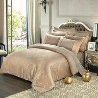 Bedding sets 4pcs cotton satin jacquard duvet quilt bed covers king queen size luxury golden bedclothes comforters bedlinen.