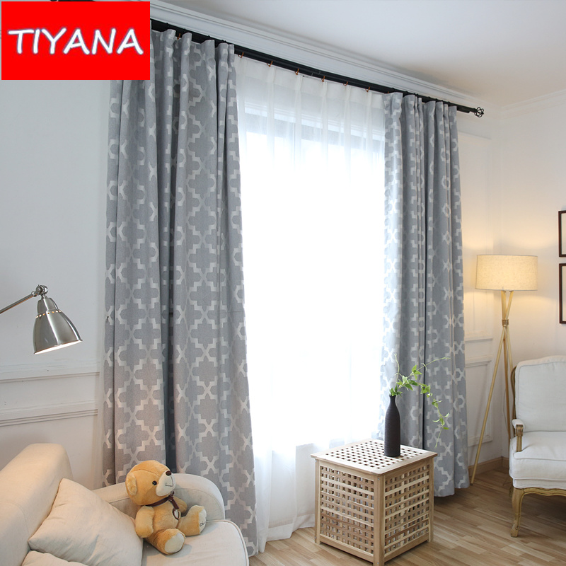 Thermal Insulated Cotton Linen Grey Blackout Curtains For