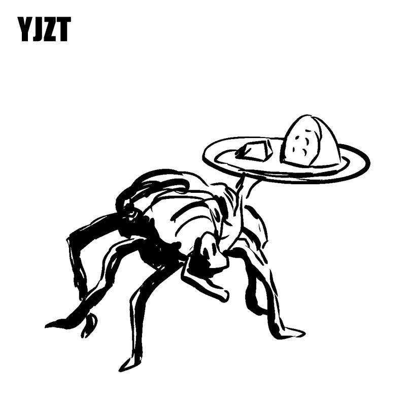 YJZT 15.5CM*12.2CM Dazzling Bug Taking Food Cobweb Vinyl Decal Original Car Sticker Black/Silver C19-0715