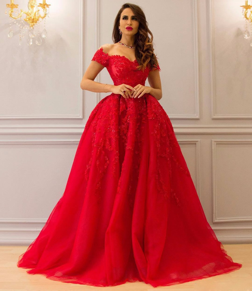 ZYLLGF Bridal Princess Long Red Evening Dresses Off