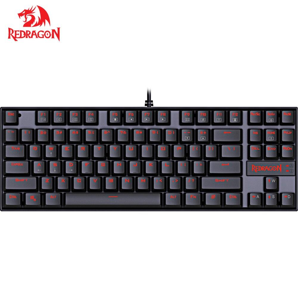 Redragon K552 Кукмара 87 Ключи светодио дный подсветкой один Цвет ключи Механическая игровая клавиатуры для геймера английская раскладка