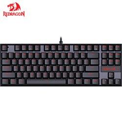 Redragon K552 KUMARA 87 klawiszy z podświetleniem LED  jeden kolor klawisze mechaniczne klawiatury do gier dla graczy angielski układ