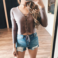KAYWIDE 2016 Women Crop Tops Series Autumn Winter New Sexy Long Sleeve Slim Fit Short Tee Tops Casual T-shirt For Women A16417