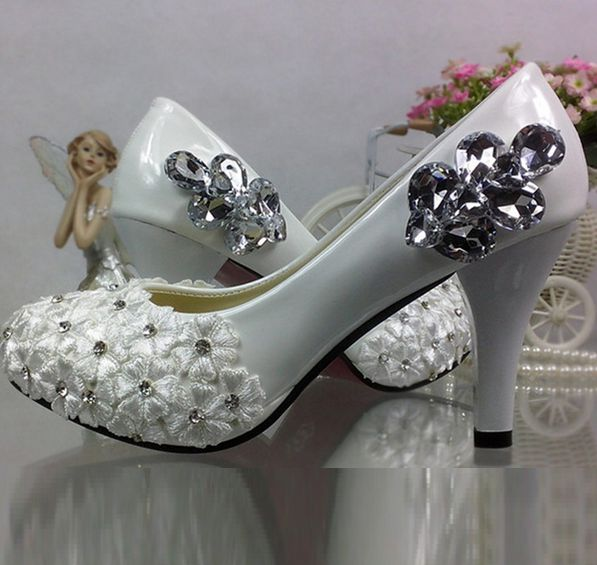 High heels platforms lace crystal rhinestones wedding shoes women female lady sweet new design handmade lace flower bridal shoes stylish rhinestones faux pearl lace flower shape embellished baseball cap for women