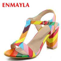 ENMAYLA Summer Women High Heel Ladies Sandals Open Toe T Strap Sandals Women Multi Colors White