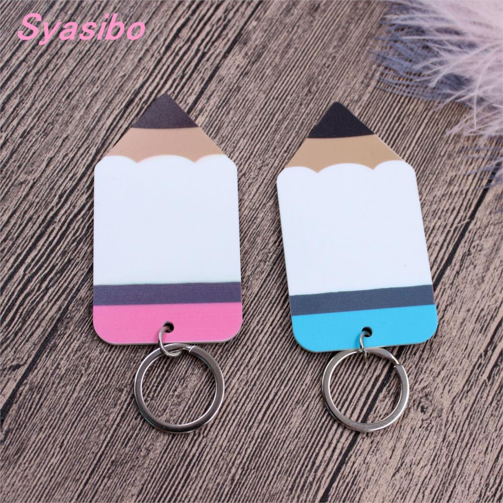 Image 2 - (4pcs)76mm Teacher Name Acrylic Pencil Keychain Teacher Appreciation Gift, Tutor, Educator, Backpack Tag  KC010-in Party DIY Decorations from Home & Garden