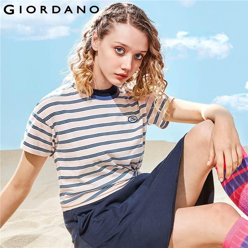 Giordano Women Tshirt Printed Graphic Tee Loose Short Sleeve T Shirt Chemise Femme Letter Camisa Feminina Soft Summer Tops