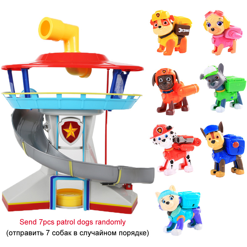 Large Size Canina Patrulla Patrol Dog Parking Center Cartoon PAW Patrol Cars Action Figures Toy Birthday Party Gift For Children new electronic wristband patrol dogs kids paw toys patrulla canina toys puppy patrol dogs projection plastic wrist watch toys