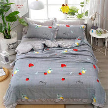 4Pcs Quality Luxury Version Summer Thin Quilt King Size Strawberry Print Air Conditioning Cool Quilt Sets For Home Travel(China)