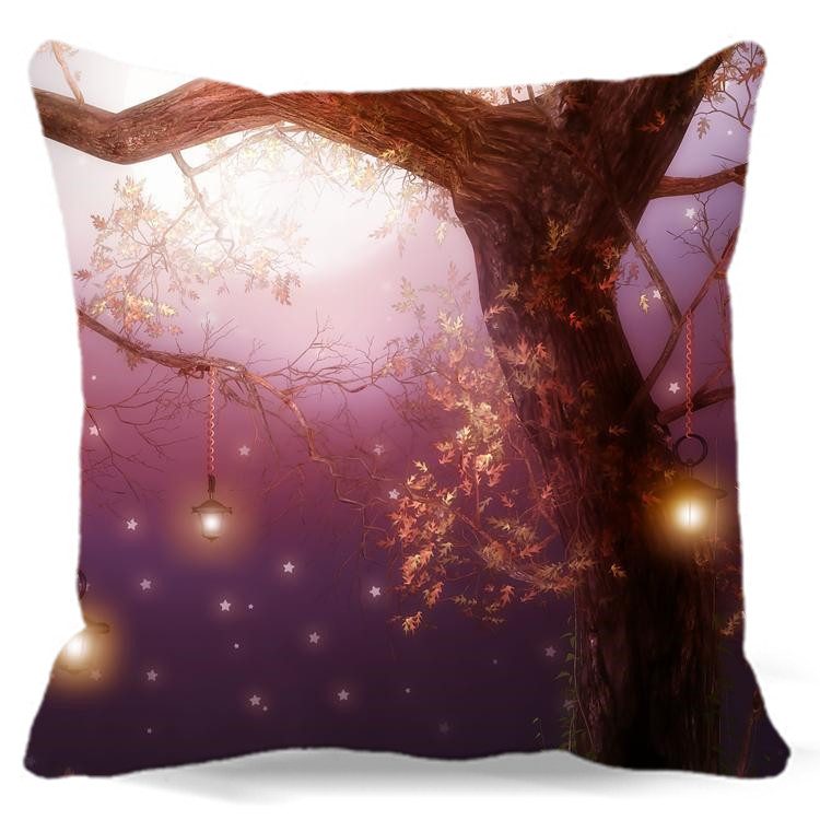 For Car Home sofa hotel Decorative Square cotton polyester 16 18 19 Big tree wear Hanging lamp Printed Pillow case
