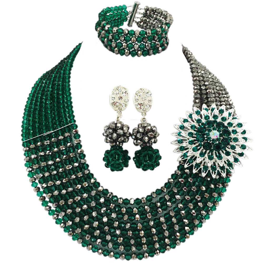 Fashion Teal Green Army Green and Silver African Beads Jewelry Set Crystal Beaded Necklace Sets 8JBK13Fashion Teal Green Army Green and Silver African Beads Jewelry Set Crystal Beaded Necklace Sets 8JBK13