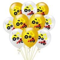 Confetti Latex Balloons Construction Excavator Vehicle Theme Balloons Engineering Kids Boys Birthday Party Decoration Supplies
