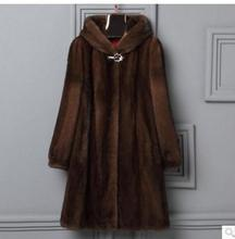 Women Hooded Man-Made Mink Fur Outwear Long Section Casual Plus Size Winter Autumn Fake Fur Jackets Female Fur Clothes J2069